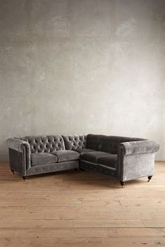 Anthropologie Slub Velvet Lyre Chesterfield Sectional, Hickory