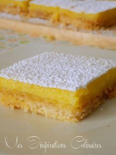 Lemon squares recipe – The most beautiful recipes Pastry Recipes, Cookie Recipes, Dessert Recipes, Cupcakes, Cupcake Cakes, Lemon Squares Recipe, Cookie Bowls, Cookie Cake Pie, Delicious Desserts