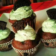 Bought some Mint Oreo cookies last night and made these delectable cupcakes. Oreo cookie cupcake with Oreo mint buttercream with oreo cookie crumble