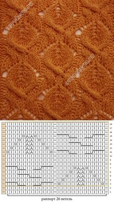 Upside down peaches La cinta 307 trenzas muy hermosas con el dibujo chiné. Lace Knitting Patterns, Knitting Stiches, Cable Knitting, Knitting Charts, Lace Patterns, Knitting Designs, Free Knitting, Stitch Patterns, Diy Couture