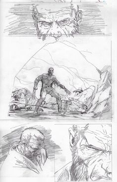 Old Man Logan sketches by Steven McNiven Comic Book Artists, Comic Artist, Comic Books Art, Steve Mcniven, Wolverine Art, Old Man Logan, Comic Layout, Create Animation, Comic Page