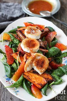 Kokit ja Potit: Salaatti paahdetulla bataatilla, veriappelsiinilla ja vuohenjuustolla