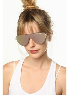 Cheap Designer Inspired Sunglasses | Zhora 2 Designer Inspired Flat Top Mirror Shield Sunglasses | BleuDame.com