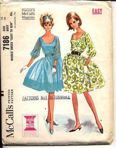 1960s Dress Pattern McCalls 7186 Misses Full Skirt