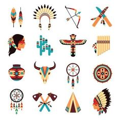 Illustration of Ethnic american idigenous tribal amulets and symbols icons collection with native feathers headdress abstract isolated vector illustration vector art, clipart and stock vectors. Image 37810012.