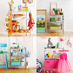Shelf-Help Group  Clutter is no match for this inexpensive and versatile three-tier shelf. Assemble it in minutes to use in the kitchen, kids' rooms, a crafts room, laundry or anywhere.