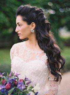 Long half up half down hair for wedding