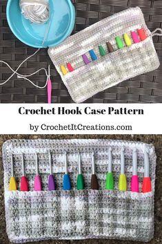Crochet Hook Case FREE Pattern - Crochet it Creations Crochet Case, Bag Crochet, Crochet Shell Stitch, Crochet Needles, Crochet Handbags, Crochet Purses, Crochet Hooks, Free Crochet, Diy Crochet Hook Handle