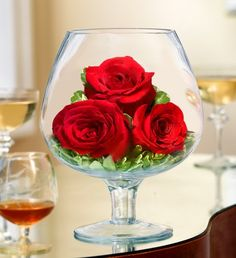 "Brandy Rose starts at $44.99 This over-sized Brandy Snifter is an elegant way to say ""I Love You"" www.1800flowers4giftseattle.com"