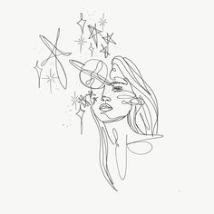 Woman face with flower illustration art print poster, illustration . - Woman& face with flower illustration art print poster, fa - Line Art Tattoos, Tattoo Drawings, Small Tattoos, Art Drawings, Tattoo Outline Drawing, Ship Tattoos, Outline Art, Couple Drawings, Tattoo Sketches