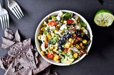 Summertime Grilled Corn, Chicken + Blueberry Chopped Salad with Honey Lime Vinaigrette