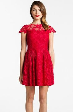 Cynthia Steffe Illusion Yoke Lace Fit & Flare Dress available at #Nordstrom