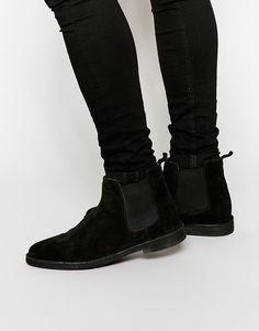 ASOS Chelsea Desert Boots in Black Suede