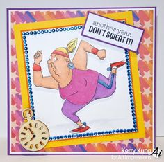 Art Impressions Rubber Stamps: Ai People: Don't Sweat it set (SKU# 4528) ... handmade birthday card with lady running.  runner, sweatbands, exercise