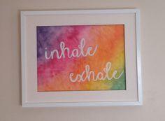 www.etsy.com/shop/atlanticyogi  Inhale Exhale watercolour art typography handwritten words