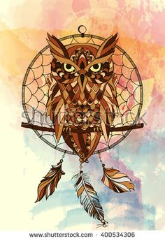 Vector decorative dream catcher in graphic style with owl on the watercolor…
