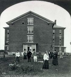 Stereo card showing male and female patients, including children, playing crocquet in front of a large brick building at Willard Asylum. Willard Asylum, Brick Building, History Museum, Hospitals, Paranormal, Prison, Street View, Lost, Female