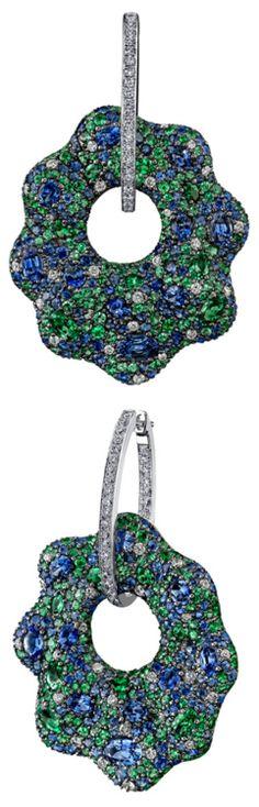 Robert Procop Sapphire, Tsavorite  Diamond Drop Earrings. Blue sapphire, green tsavorite garnet and white