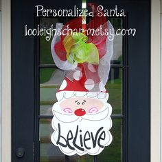 Christmas Door Hanger, Santa Door Decor, Christmas Decor, CIJ. $40.00, via Etsy.