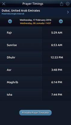 #Islam #Salah #Prayer timings for #Dubai #Moscow #Paris #Cairo for #today!