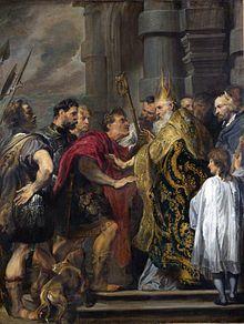 Teodosio I promulgò l'editto di Tessalonica, alla sua morte nel 395 l'impero romano fu diviso in due parti. <<L'imperatore Teodosio e sant'Ambrogio, dipinto di Van Dyck, Palazzo Venezia, Roma. Sant'Ambrogio rifiuta l'ingresso in chiesa all'imperatore.>>