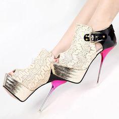 Tacones de aguja de encaje sexy y atractiva mujer de baile Zapatos ...