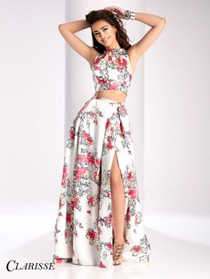 Clarisse 2017 Two Piece floral print Prom Dress style 3002. This unique prom dress has a sassy and classy slit in the ball gown skirt! | Promgirl.net