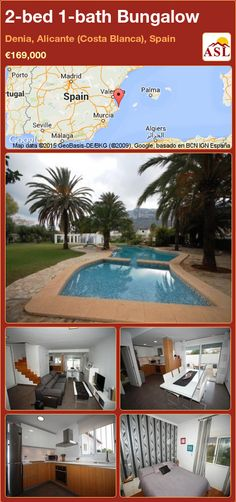 Bungalow for Sale in Denia, Alicante (Costa Blanca), Spain with 2 bedrooms, 1 bathroom - A Spanish Life Alicante, Guest Toilet, Villa, Bungalows For Sale, Double Glazed Window, Open Plan Kitchen, Malaga, Laundry Room, Terrace