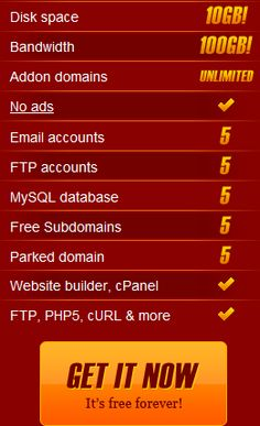 the best free webhosting with 10GB of space and 100GB of bandwith