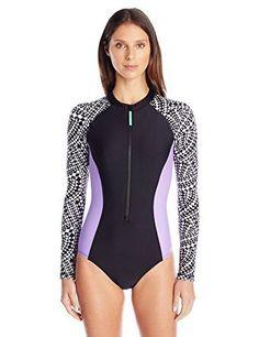 87a21a56ea789 Speedo Long Sleeve One Piece Swim Suit Surfing Rash Guard Shirt PowerFLEX  Eco M #Speedo