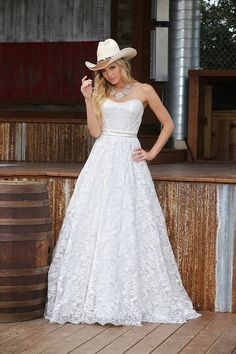 Da Vinci Bridal Spring Collection Giddy-up cowgirls! Country Wedding Dresses, Bridal Wedding Dresses, Country Weddings, Ivory White, Vintage Lace Weddings, White Bridal, Cheap Dresses, One Shoulder Wedding Dress, Cathedral Train