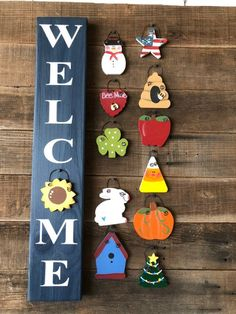This fun farmhouse style vertical mini welcome sign in rustic blue is 3 X long and comes ready to hang with 12 changeable pieces, one for each month. You can always be in season! Crafts To Make And Sell, Diy And Crafts, Crafts For Kids, 4x4 Crafts, Glow Crafts, Wooden Welcome Signs, Porch Welcome Sign, Pallet Crafts, Wooden Crafts