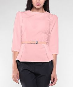 4d887bfd1a8 Look what I found on  zulily! Peach Belted Peplum Top - Plus Too