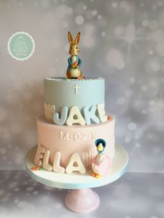 Peter and Jemima christening cake by Crew Cakes Baby Boy Christening Cake, Christening Favors, Beatrix Potter Cake, Christening Decorations, Twins Cake, Family Cake, Fondant Cakes, Baby Shower Cakes, Amazing Cakes