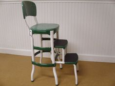 Vintage Green & White Cosco Step Stool