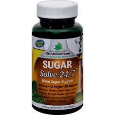 American Bio-Sciences SUGAR Solve 24-7 - 60 Softgels - American BioSciences SUGAR Solve24-7 Description:  Blood Sugar Support   All Day~All Night~All Natural  Maintains healthy blood glucose levels  Assists in weight management SugarSolve 24/7 Works around the clock to help support healthy blood glucose levels.SUGARSolve 24/7 contains an extract from the Banaba leaf (Lagerstroemia speciosa L.) standardized to 18% corosolic acid which is clinically proven to activate cellular glucos...