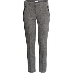 H&M Suit trousers ($21) ❤ liked on Polyvore featuring pants, bottoms, trousers, grey, h&m, grey dress pants, grey suit pants, side pocket pants, dress trousers and gray pants