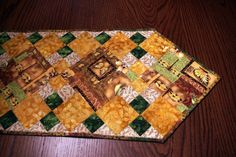 Elegant Quilted Table Runner Warm Colors by MoranArtandQuilts