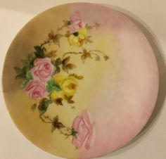Limoges Plate Pink Yellow Green Beige Plate 5 1/2 inches Display Quality 1900s Antique Jean Pouyat China Diy Caravan, Timeless Kitchen, Limoges, China Painting, Beige, Pink Yellow, Dinnerware, Upcycle, Fiber