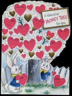 Vintage Greeting Card Money Train Coin Holder Dime Bunny Rabbit Birthday Memories