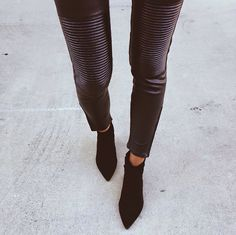 cropped faux leather and booties