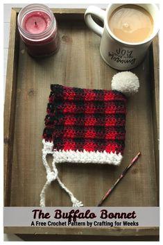 The Buffalo Bonnet: A Free Crochet Pattern - Crafting for Weeks Quick Crochet Patterns, All Free Crochet, Crochet Ideas, Plaid Crochet, Crochet Hats, Bonnet Pattern, Front Post Double Crochet, Crochet Dishcloths, Newborn Crochet