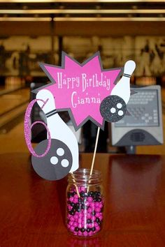 Bowling Birthday Centerpiece, Bowling Party, Customized Centerpiece