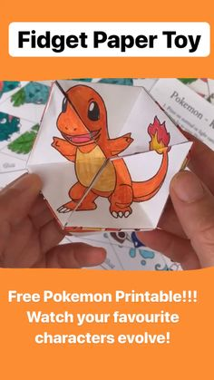 Pokemon Evolution DIY Kaleidoscope Paper Toy - Red Ted Art How cool are these paper fidget toys? Watch your favourite pokemon evolve! Available in black and white as Coloring Pages or fully coloured r