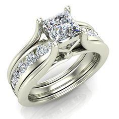 Princess Cut Adjustable Band Engagement Ring Set 18K Gold (G,VS)