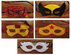 Super Hero Mask / Childrens Mask / Costume Mask / Spiderman / Wolverine / Iron Man / Wonder Woman / Storm by madglamapparel on Etsy