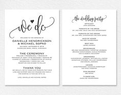 Printable Navy Wedding Program Template Rustic Wedding Programs