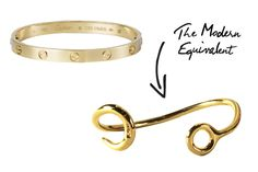 The Gold Bracelet — Put it on and never take it off...that's the hallmark of a great, gold bracelet. The Cartier Love bracelet has an appeal that can't be missed, but for those who don't want to be locked into a piece of jewelry (or commit to something quite so spendy), this hook bracelet from Giles & Brother is the perfect, modern update.     Cartier Love Bracelet, $3,600, available at Cartier; Giles & Brother Hook Cuff, $115, available at Giles & Brother.