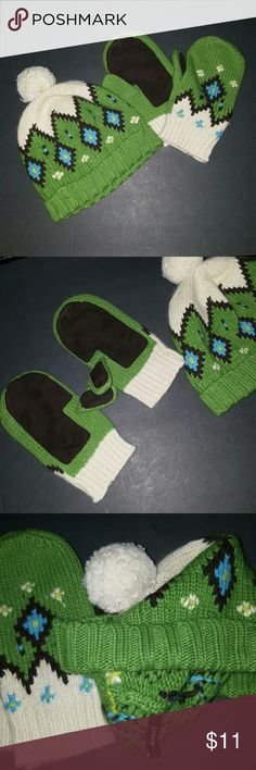 J crew  hat and gloves Adorable sweater hat with pom pom top.  Mittens right mitten has some wear  spot and loose stiching on thumb. .you will look super cute in this j crew Accessories Gloves & Mittens