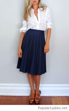 White shirt, mavy skirt and brown sandals